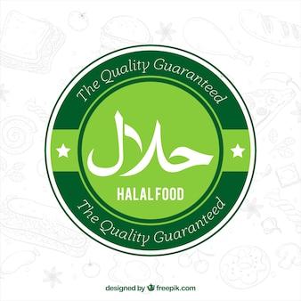 Etiqueta clásica verde de comida halal con diseño plano