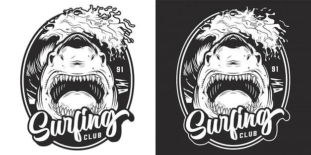 Etiqueta de club de surf de verano monocromo