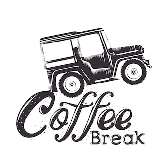 Etiqueta de coffee break con coche