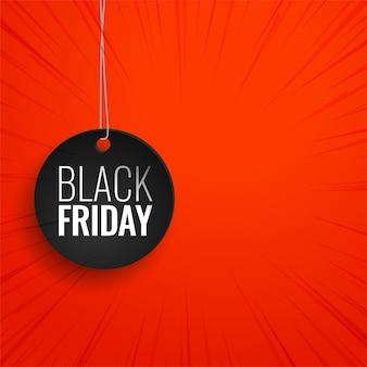 Etiqueta colgante de viernes negro sobre fondo rojo