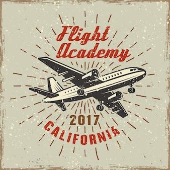 Etiqueta de color de avión para la ilustración de la academia de vuelo en retro con texturas grunge y rasguños