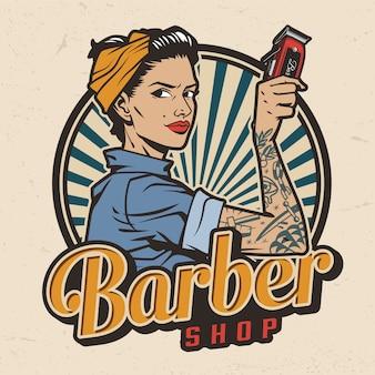 Etiqueta colorida de la peluquería vintage
