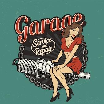 Etiqueta colorida del servicio de reparación de automóviles antiguos