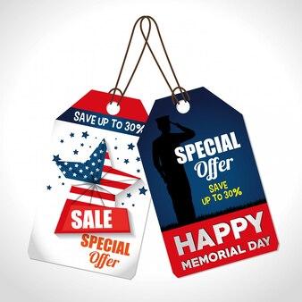 Etiqueta comercial de gran venta para el día conmemorativo.