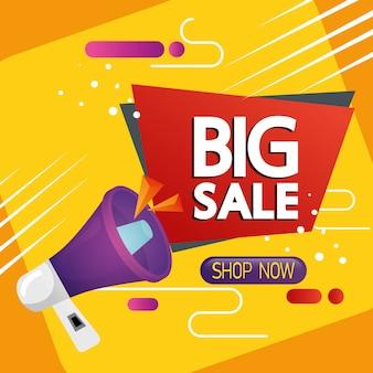 Etiqueta comercial con letras de gran venta y banner de megáfono