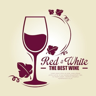 Etiqueta de la copa de vino tinto