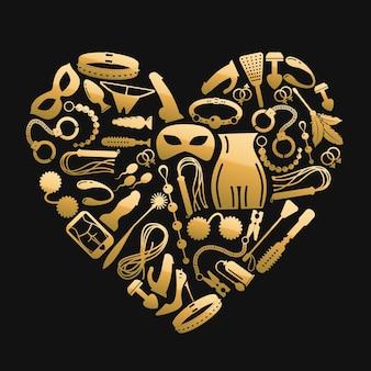Etiqueta del corazón de los iconos de sexo. accesorios bdsm en forma de corazón. consolador o vibrador para bdsm adulto y accesorios de goma en forma de corazón.