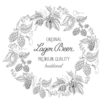 Etiqueta de corona redonda en blanco y negro