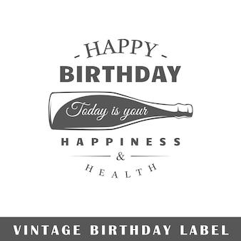 Etiqueta de cumpleaños aislada sobre fondo blanco