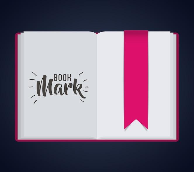 Etiqueta de etiqueta de marcador e ícono de libro. guía de lectura de decoración y tema de la literatura. diseño colorido
