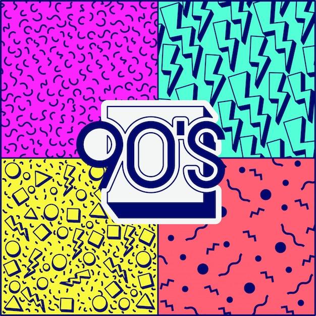 Etiqueta de la década de los 90 retro