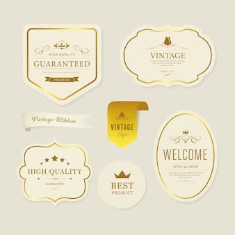 Etiqueta y decoración de banner de elemento vintage.