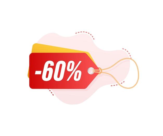 Etiqueta de descuento de venta de 60 por ciento de descuento. precio de oferta de descuento. icono plano de promoción de descuento del 10 por ciento con sombra. ilustración vectorial.
