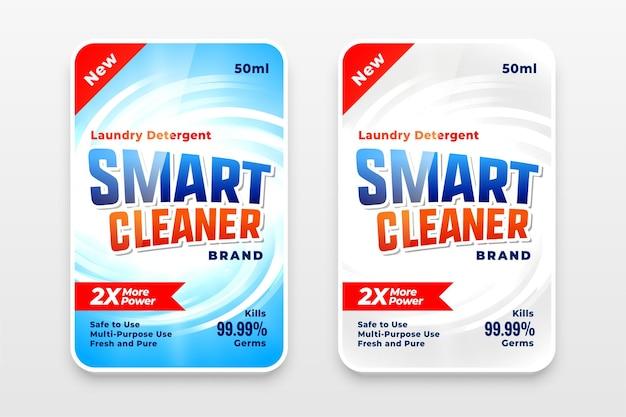 Etiqueta de detergente para ropa limpiador inteligente