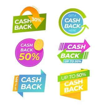 Etiqueta de devolución de efectivo con flechas