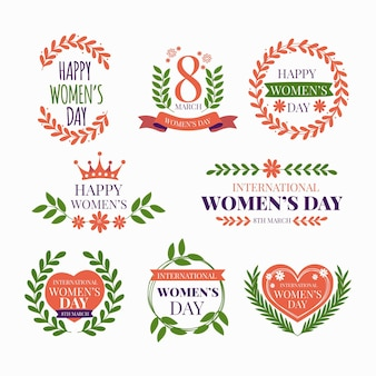 Etiqueta del día internacional de la mujer dibujada a mano