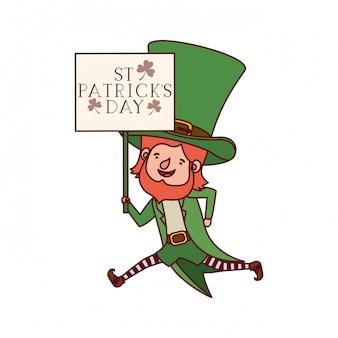 Etiqueta del día de san patricio con carácter de duende.