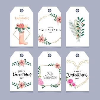 Etiqueta del día de san valentín con decoraciones florales.