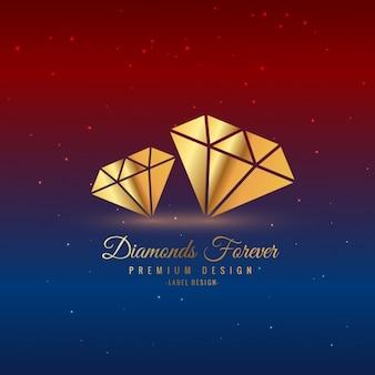 Etiqueta de diamantes dorados