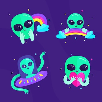 Etiqueta dibujada a mano con alien y arcoiris