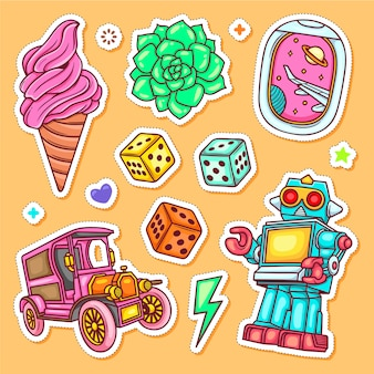 Etiqueta dibujada a mano doodle para colorear vector