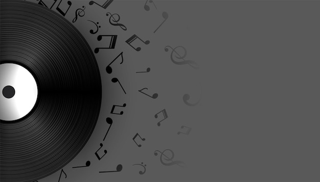 Etiqueta de disco de vinilo de música con notas de sonido