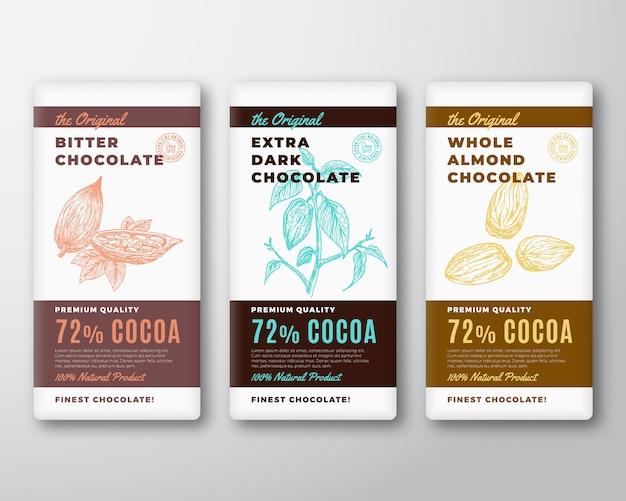 La etiqueta de diseño de envases abstractos de chocolate más fino original. tipografía moderna y rama de cacao dibujada a mano con hojas y diseño de fondo de silueta de boceto de frijoles y almendras.