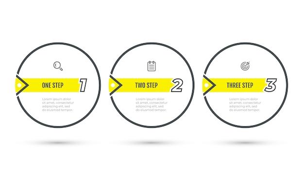 Etiqueta de diseño de infografías de negocios con elementos numéricos e icono. pasos del proceso de infografía vectorial con 3 opciones, círculos.