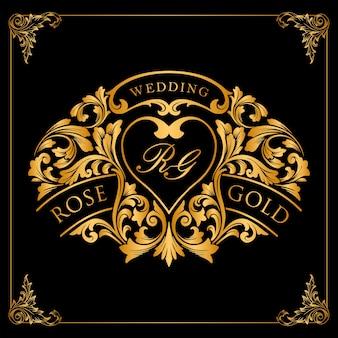 Etiqueta dorada y adornos de marco de lujo para el diseño de invitaciones de boda.