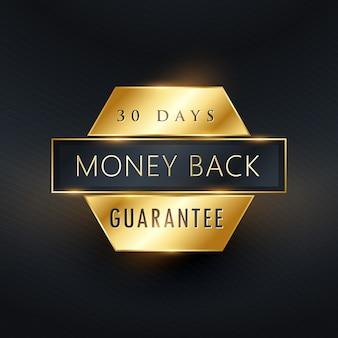 Etiqueta dorada de garantía de devolución de dinero