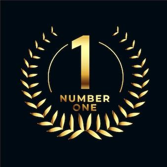 Etiqueta dorada número uno con corona de hojas