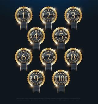 Etiqueta dorada de los premios 1º, 2º, 3º, 4º, 5º, 6º, 7º, 8º, 9º, 10º