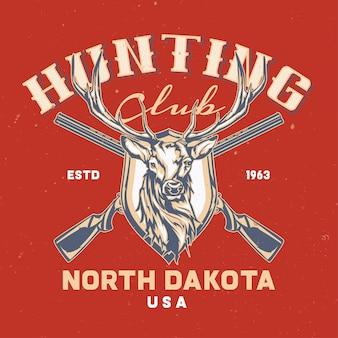 Etiqueta con dos rifles y cabeza de ciervo con letras