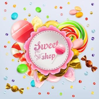 Etiqueta de dulces de tienda de dulces