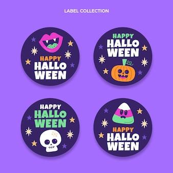 Etiqueta e insignias de halloween de diseño plano dibujado a mano