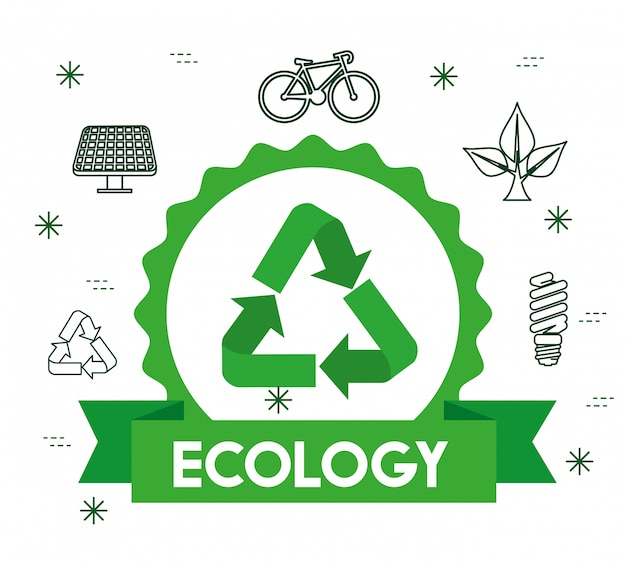 Etiqueta ecológica con signo de reciclaje y cinta