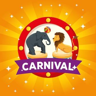 Etiqueta de elefante y león jugando con pelota al carnaval