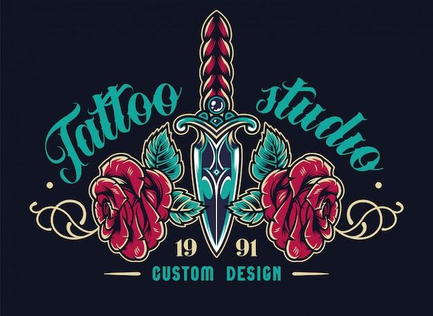 Etiqueta elegante del estudio de tatuajes coloridos
