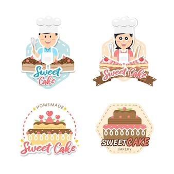 Etiqueta y emblema de panadería de diseño de logotipo de panadería