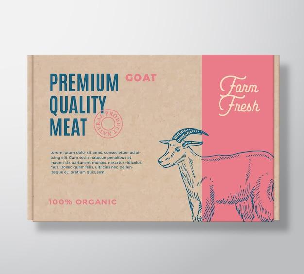 Etiqueta de empaquetado de carne de cabra de primera calidad en un contenedor de caja de cartón artesanal.