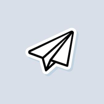 Etiqueta engomada de la aeronave. icono de mensaje. avión de papel. vector sobre fondo aislado. eps 10.