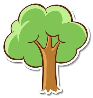 Etiqueta engomada del árbol de dibujos animados en blanco