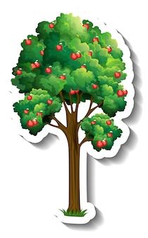 Etiqueta engomada del árbol de manzana sobre fondo blanco
