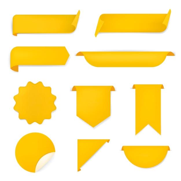 Etiqueta engomada de la bandera amarilla, conjunto de imágenes prediseñadas simple vector en blanco
