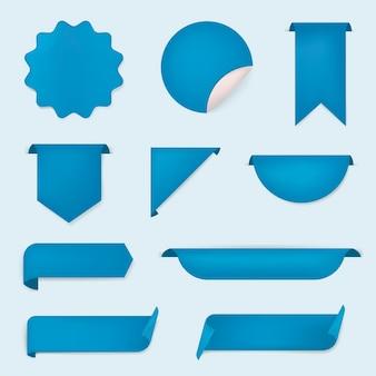 Etiqueta engomada de la bandera azul, conjunto de imágenes prediseñadas simple vector en blanco