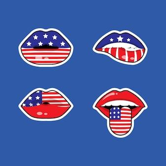 Etiqueta engomada de la bandera de los labios americanos establece el 4 de julio celebración del día de la independencia de estados unidos plana
