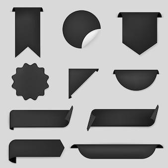Etiqueta engomada de la bandera negra, conjunto de imágenes prediseñadas simple vector en blanco