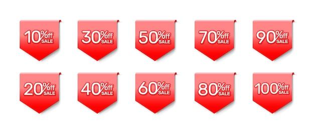 Etiqueta engomada de la bandera roja, colección con porcentaje de descuento compartido. ilustración vectorial
