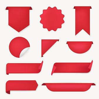 Etiqueta engomada de la bandera roja, conjunto de imágenes prediseñadas simple vector en blanco