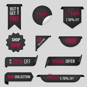 Etiqueta engomada de la bandera de venta, conjunto de imágenes prediseñadas de compras de vector en blanco